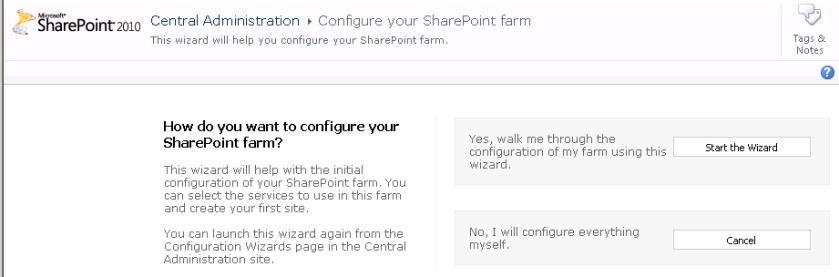Farm configuration wizard